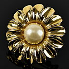 Auth flower motif fake pearl brooch Gold