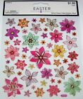 Easter Crafts Scrapbook Stickers Spring Flowers 46 Foiled pcs NIP
