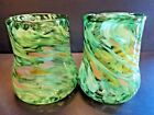 KAREN NAYLOR 2 ART GLASS GREEN MULTI COLOR SIGNED TUMBLERS MINT
