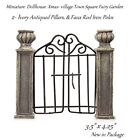 Miniature Dept 56 lemax style village ivory antiqued pillars Wrought Iron gate