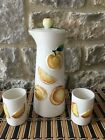 Vintage Hand Painted GRANTCREST 4Pc Orange Juice Lidded Pitcher 2 Tumblers Set