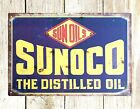 US SELLER-  pop shop decor Sunoco the distilled oil tin metal sign