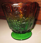 Amber and Green Glass Pedestal DIsh with Grapes