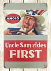 US SELLER- modern wall decor sale Uncle Sam rides First Amoco tin metal sign