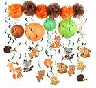 PAPER JAZZ Woodland Animal Swirl Party Decoration Pack for Birthday baby shower