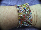high quality colored glass beaded cuff style woven bracelet 1 1 2 fits anyone
