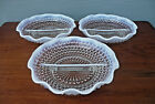 3 Anchor Hocking Moonstone Hobnail Opalescent Ruffled Edge Relish Candy Dishes