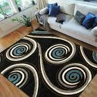 Swirls Pattern Peacock Design Area Rug Black Blue White Yellow