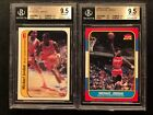 1986-87 Fleer Michael Jordan Rookie RC Cards #57 & #8 BGS 9.5