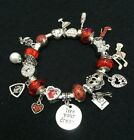 MOMs B DAY Euro style CHARM Bracelet Favorite things Red Crystal Silver Perfect