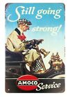 US SELLER, Still Going Strong Amoco Service tin metal sign man cave garage