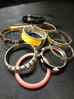 LOT OF 10 VARIOUS STYLES VINTAGE COSTUME BANGLE CUFF BRACELETS