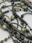 Silpada Sterling Silver Hematite Glass Dewdrops 3 Strand Necklace N2097
