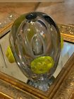 MURANO VINTAGE ABSTRACT ART GLASS YELLOW CLEAR APPLIED FLOWER 65 VASE HOLE CTR