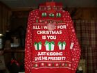 GIRLS JUNIORS UGLY CHRISTMAS SWEATER BEANIE COMBO M ALL I WANT CHRISTMAS IS YOU