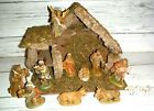 Vintage Italy 12 Pc Nativity Set with Stable