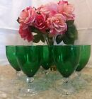 Vintage Anchor Hocking Forest Green Bubble Boopie Berwick Footed Goblet set of 7