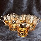 Lot 8 Vintage Libbey Continental Coffee Glass Cup Gold Metal Handle Art Deco Mug
