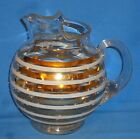 Vintage 1950's Glass Ball Water Pitcher w/ applied Handle White Gold Striped