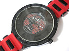 Black Metal Big Case Red Rubber Band Globe Dial Men's Watch