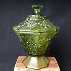Vintage Green Glass Footed Candy Dish w Lid Raised Grapes Leaves 7.5