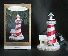 1994 Candy Cane Lookout Lighthouse QLX7376 Mrs Claus Penguin Hallmark Ornament