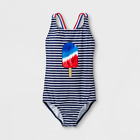 Girls Fun in the Sun One Piece Swimsuit Cat  Jack Blue Popsicle Small Med