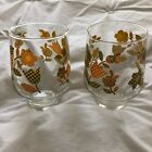 retro checkered floral juice glasses set of 2 orange yellow green 60s 4.5in tall