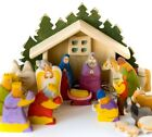 Nativity Set  Christmas wooden set of 18 hand painted carved figurines