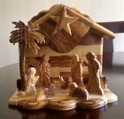 Olive Wood Nativity Manger scene Handmade Holy Land with music box