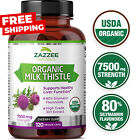 USDA Organic Milk Thistle 7500 mg Strength 120 Veggie Caps 80% Silymarin 30:1