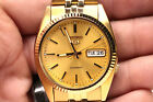 Mens seiko 7s26-0500 datejust homage style automatic snxj89 gold tone
