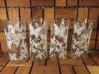 Mid Century Vintage Libbey Glass Set of 4 - White Butterflies Tumblers - EUC!