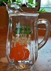 VINTAGE ANCHOR HOCKING ORANGE JUICE PITCHER WITH ICE LIP CLEAR GLASS BLOSSOM 7