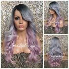 Full Wig Ombre Long Gray Pink Loose Curl Dark Roots Bangs Layers Heat Safe Ok