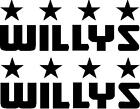 Set of Army Willys Jeep Star Decals Rubicon Wrangler Cherokee