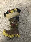 Black African Americana Early Chalkware Plaque WomensHead Pot Holder Hanger