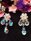 Lavish Vintage AUSTRIA Iridized Crystal Chandelier Dinner Dangle Earrings