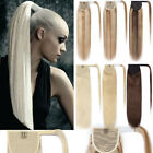 100% Real Thick Clip In Human Hair Extensions Wrap Around Ponytail Hair Piece US
