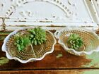 Vintage Lot Two Fenton Opalescent Bowls Dishes One Divided Hobnail White
