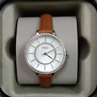 Fossil Womens Jocelyn Brown Leather Strap White Mother Of Pearl ES4454 Watch
