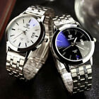Mens Waterproof Date Noctilucent Stainless Steel Glass Quartz Analog Watches