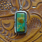 Vintage Native American Navajo Ed Kee Royston Green Turquoise Pendant Necklace