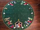 Vntg Bucilla Nativity Christmas Tree Skirt Round Table Cloth Completed 3576