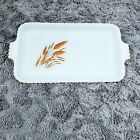 Vintage Anchor Hocking Fire King Milk Glass Snack Tray Wheat Pattern