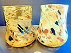 KAREN NAYLOR 2 ART GLASS YELLOW MULTI COLOR TUMBLERS MINT