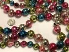 Vintage MERCURY GLASS Christmas Garland MULTI COLOR 2 Strands Large Bead