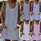 Plus Size Women's Cotton Summer Short Sleeve Long T-Shirt Ladies Casual Dress US