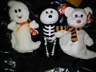 3 TY BEANIE HALLOWEEN COLLECTIBLES BONESES, QUIVERS, & SPOOKY NEW