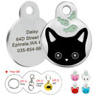 Personalized Dog Cat Cute Face Tags Disc Pet ID Name Collar Tag Engraved Free